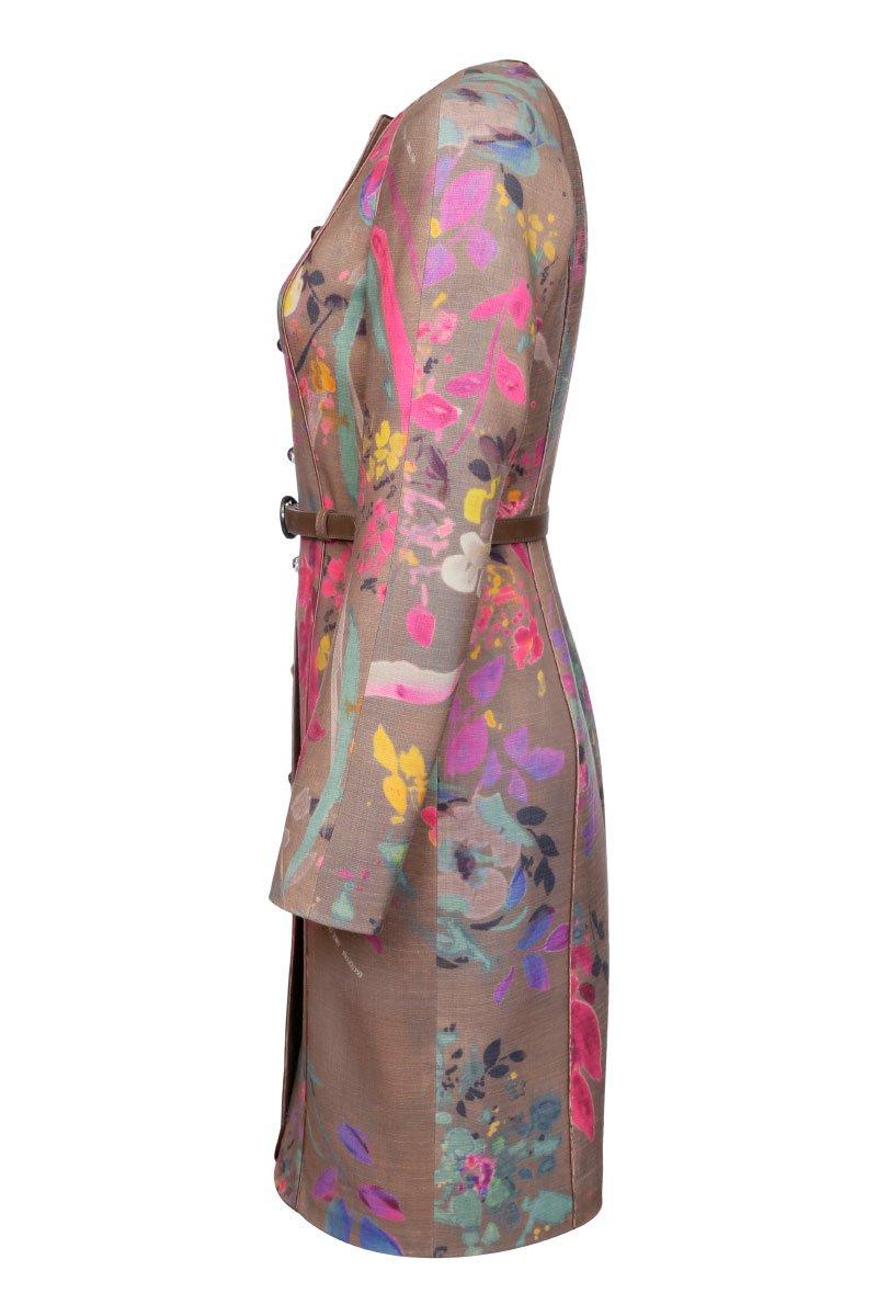 Пальто приталенного силуэта из шерсти с принтом