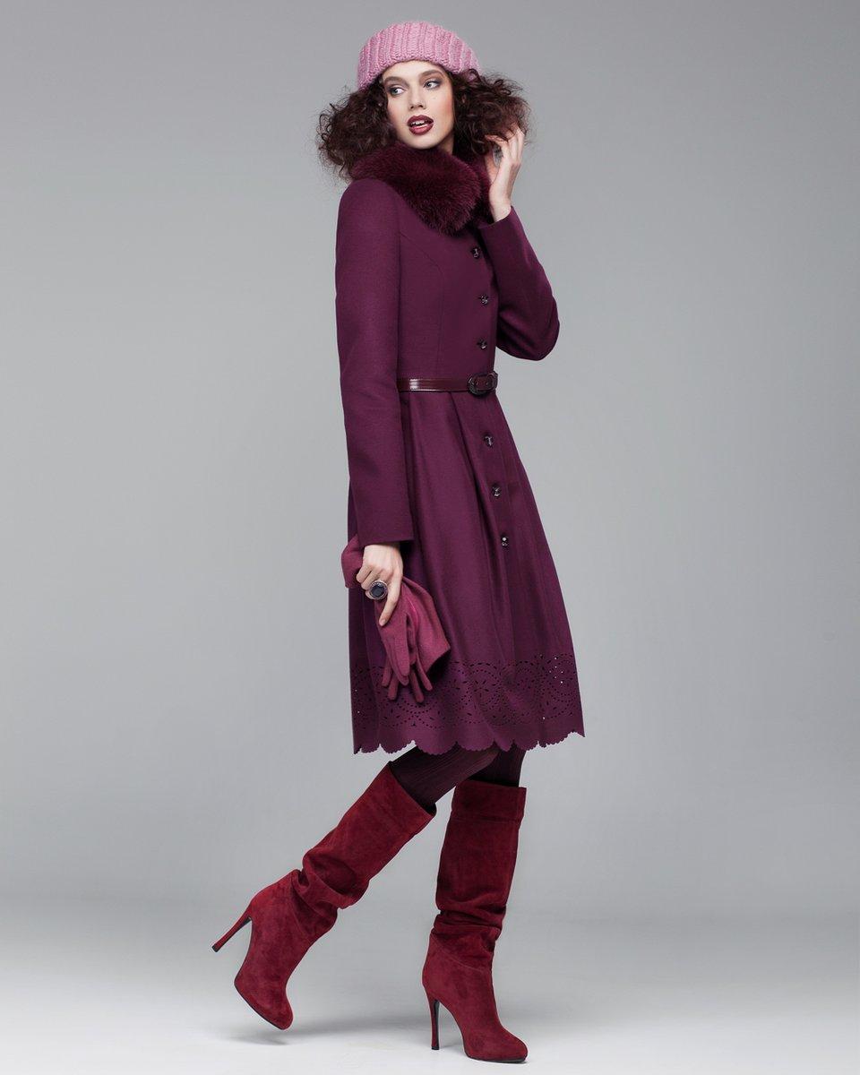 Пальто зимнее с юбкой в складку, украшенной фестонами с ажурной перфорацией
