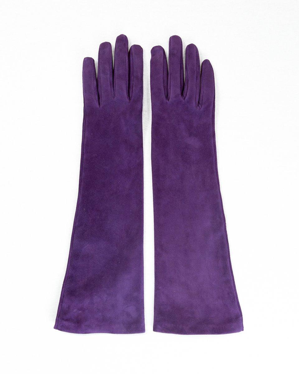 Перчатки из замши с высокими манжетами