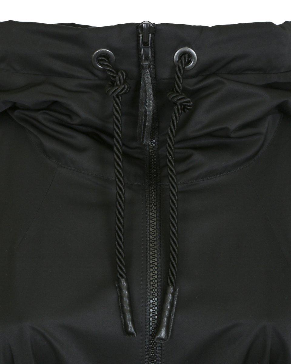Плащ с капюшоном длины макси черного цвета с прозрачными вставками