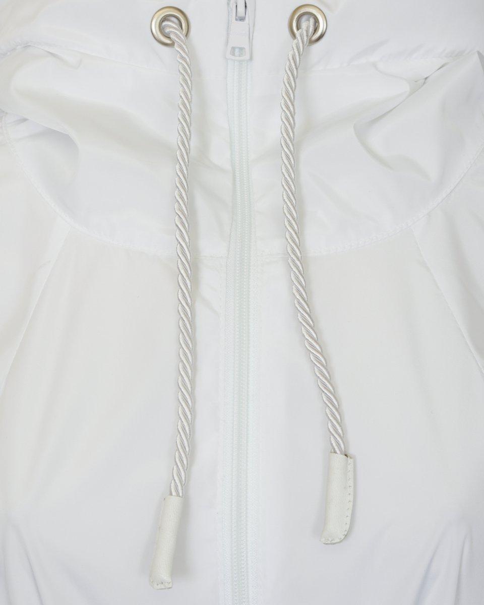Плащ с капюшоном с прозрачными вставками, белого цвета