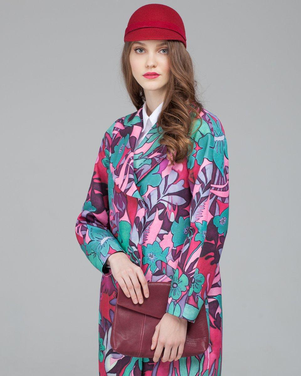 Пальто - кокон с цветочным принтом