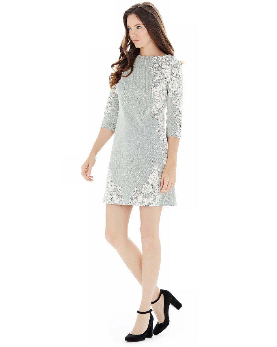 Платье-трапеция из трикотажной жаккардовой ткани
