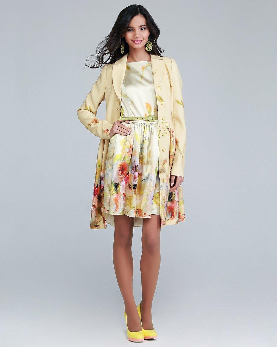 Платье акварель с юбкой со складками