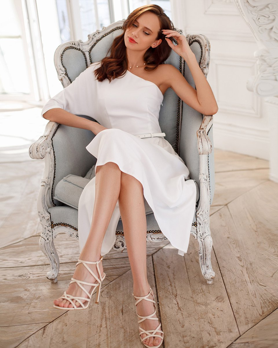 Асимметричное платье из вискозы, белое