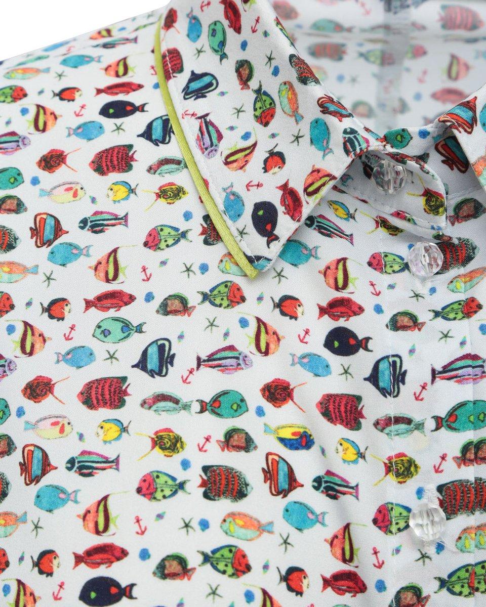 """Платье белого цвета с принтом """"рыбы"""""""