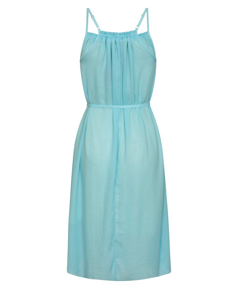 Платье бирюзового цвета из шифона c декоративными кистями
