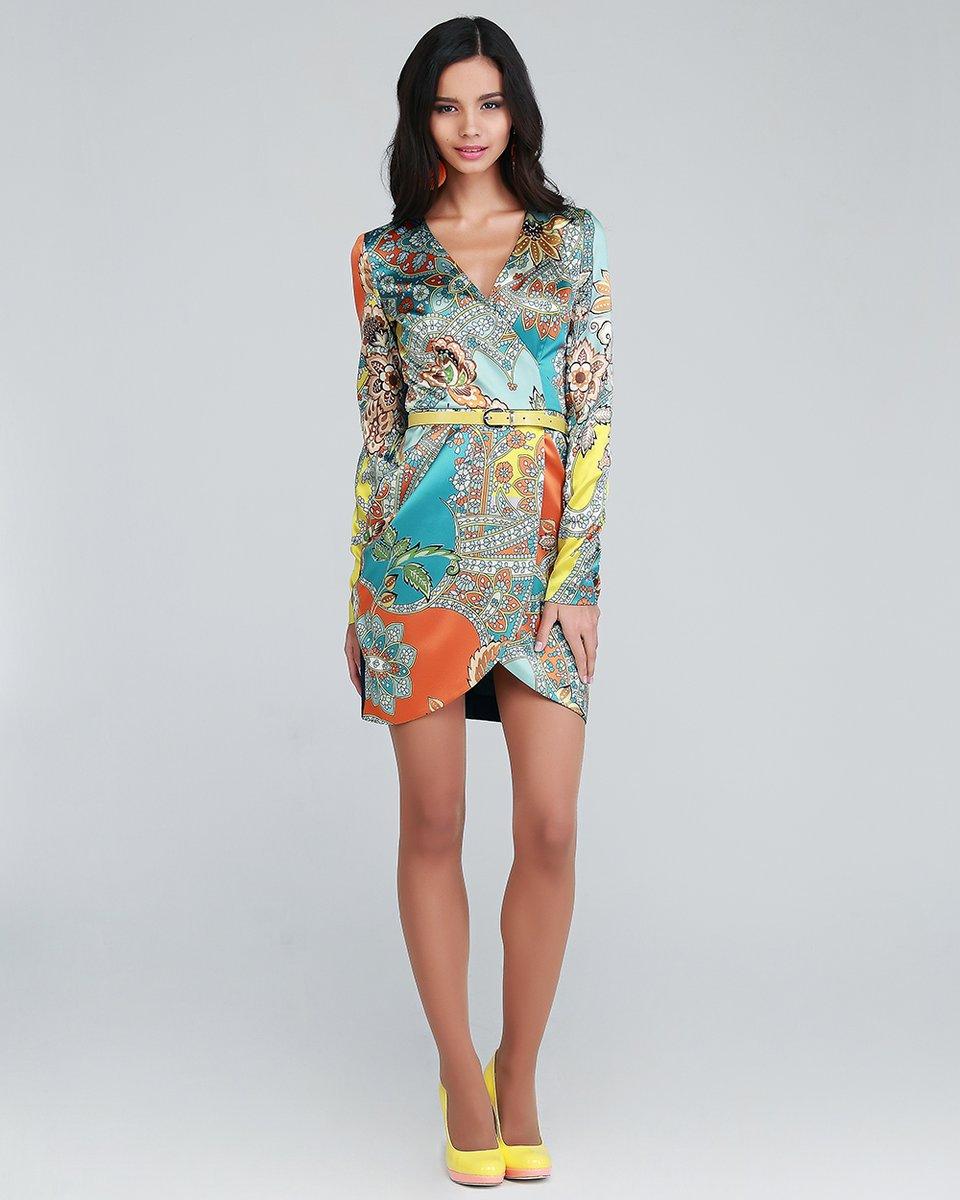 Платье Буйство цвета с запахом, джинсовая спина