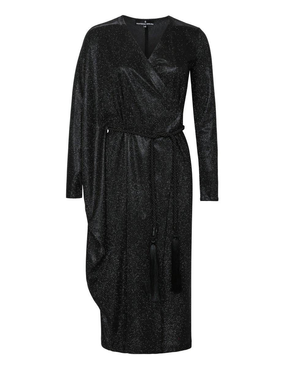 Платье на запах с асимметричным рукавом