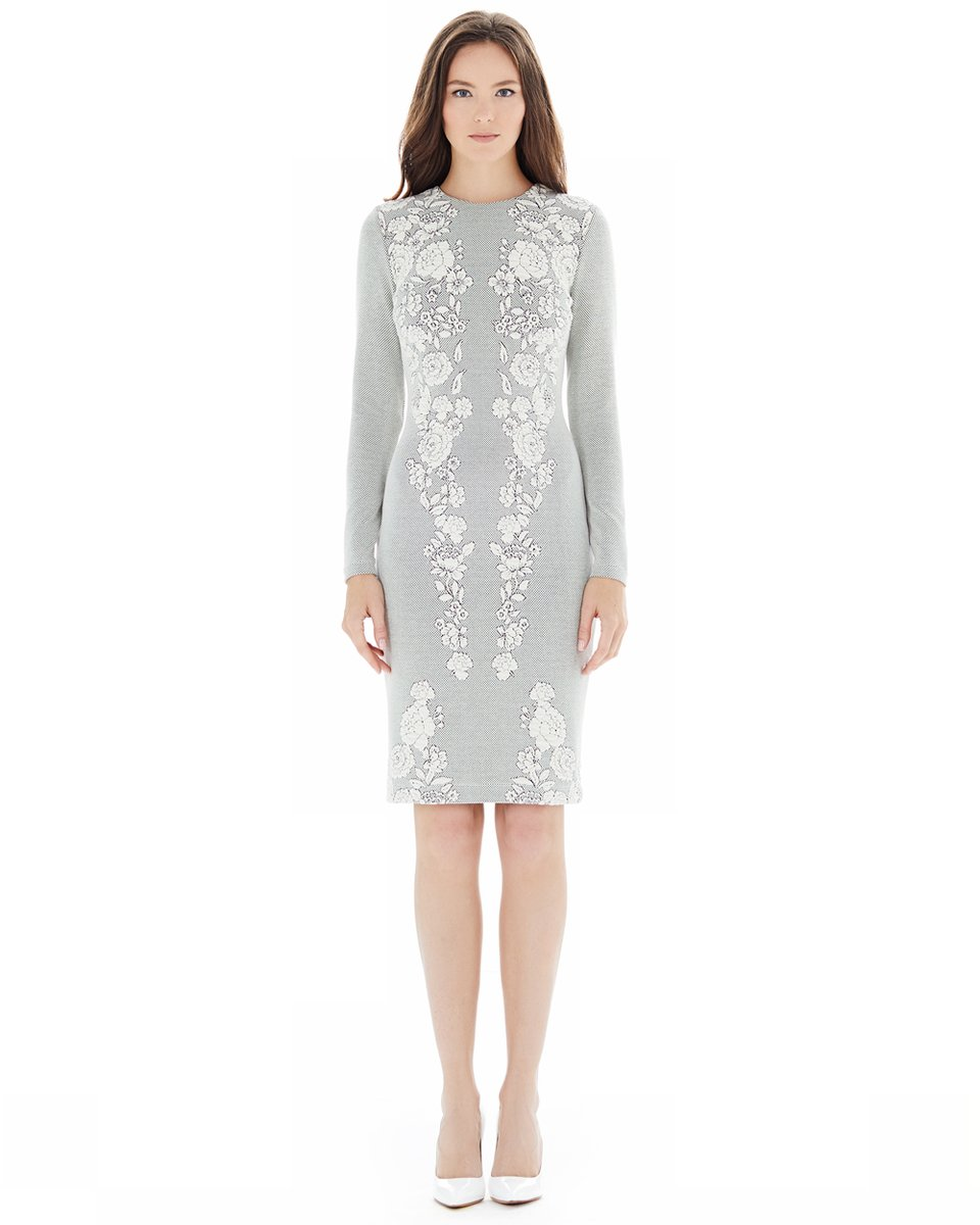 Платье-футляр из трикотажной жаккардовой ткани