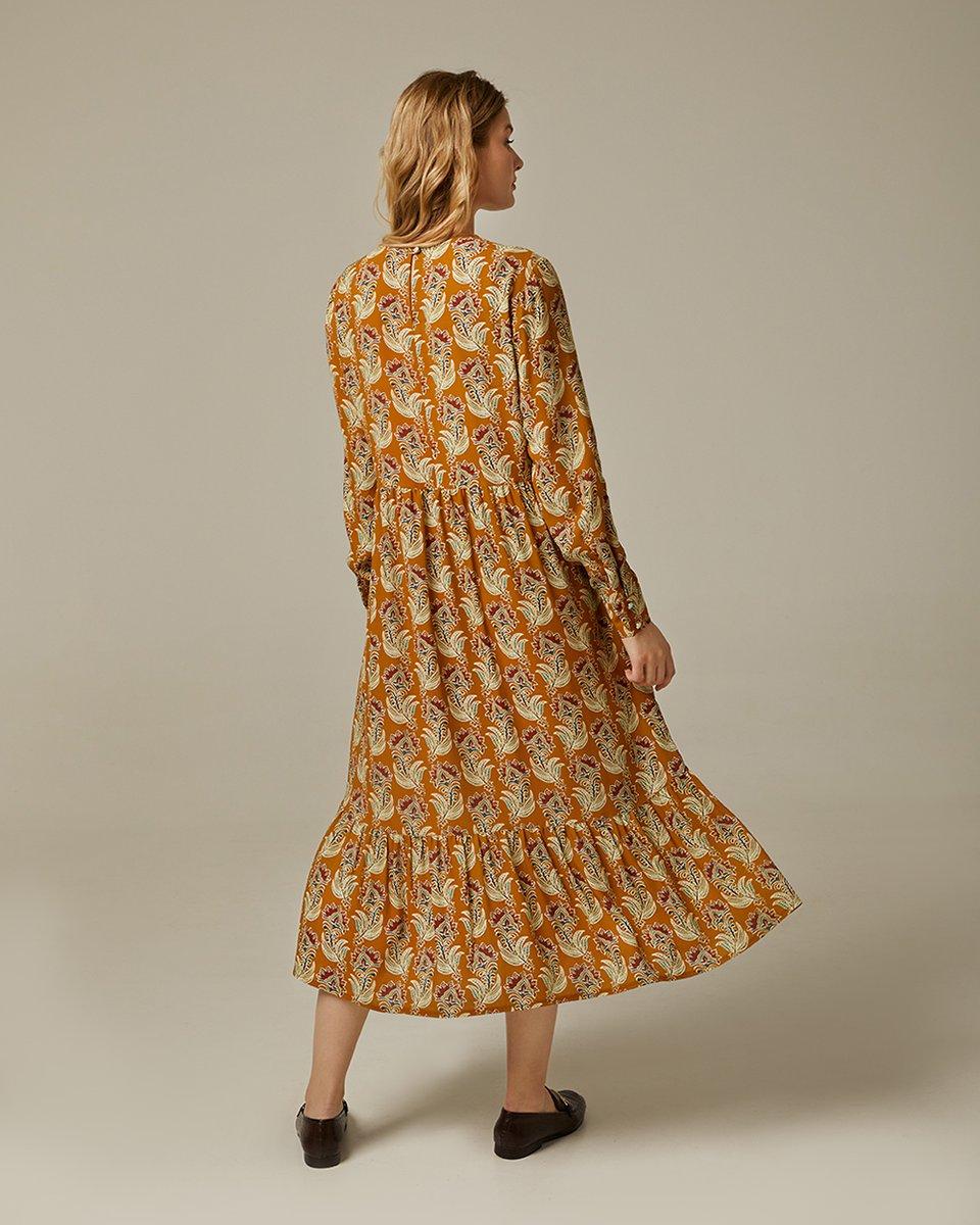 Ярусное платье Бохо горчичного цвета с цветочным принтом