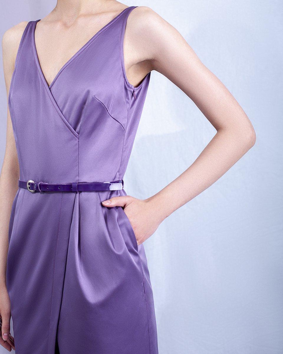 Платье на запах сливового цвета