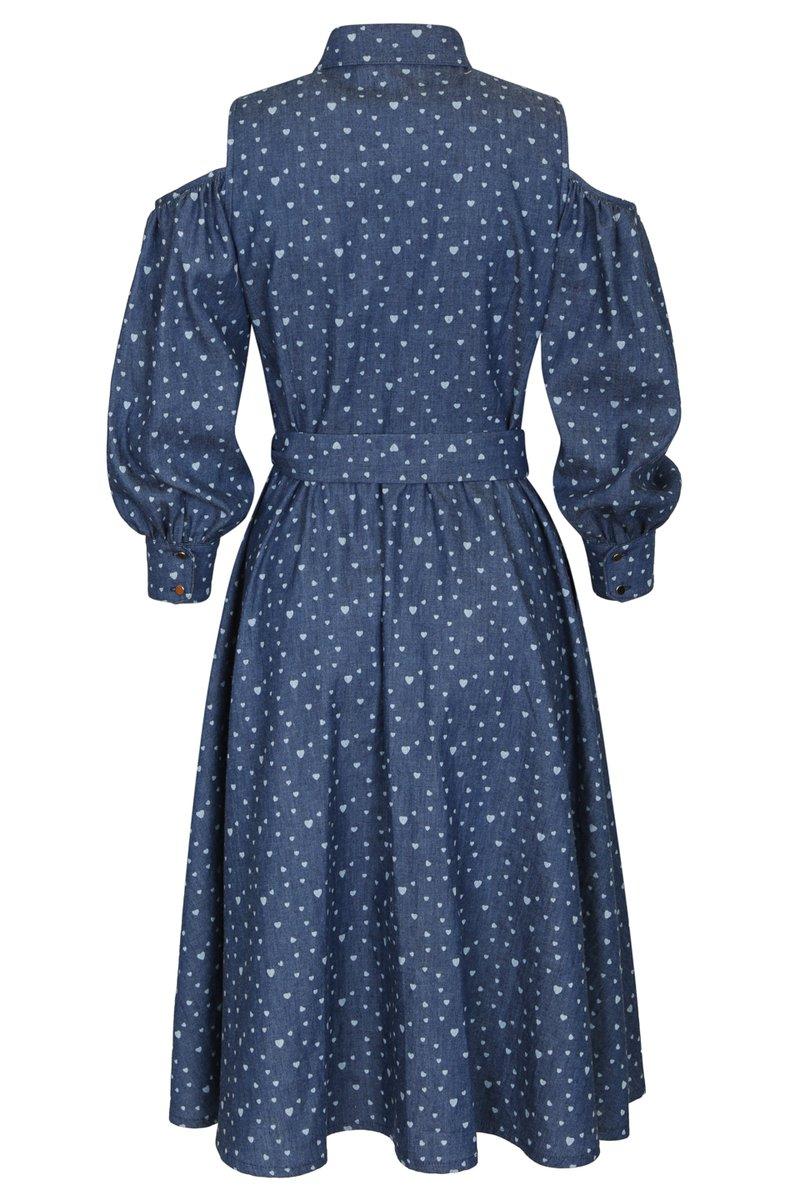 Платье из денима с открытыми плечами с принтом «сердца»