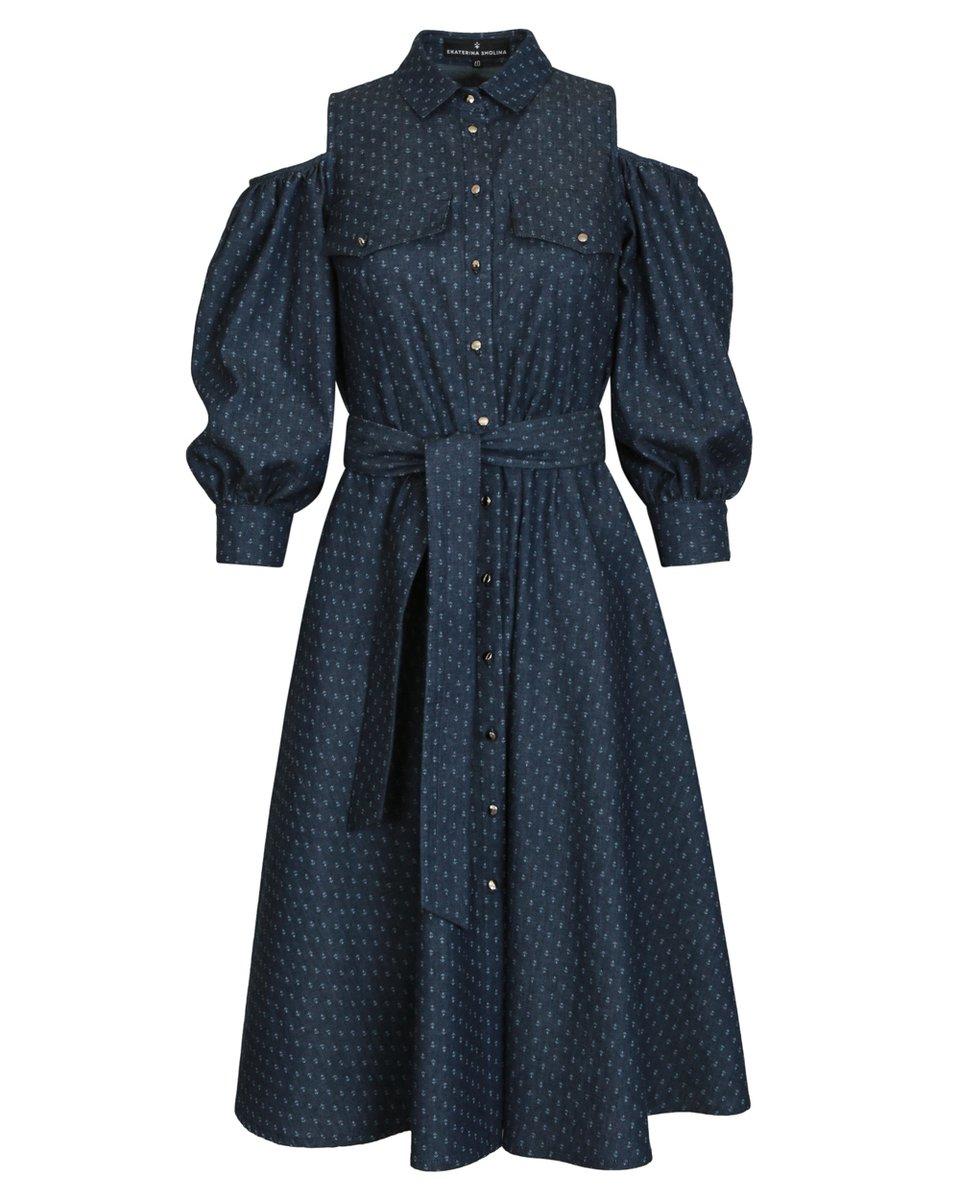 Платье из денима с открытыми плечами с принтом «якоря»