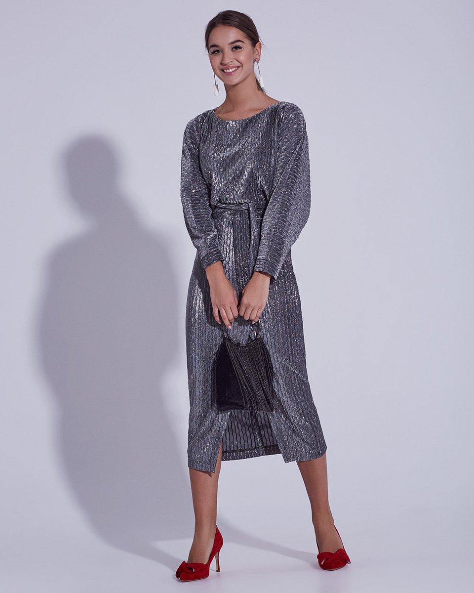 """Платье из фактурного серебристого трикотажа с рукавом """"летучая мышь"""""""