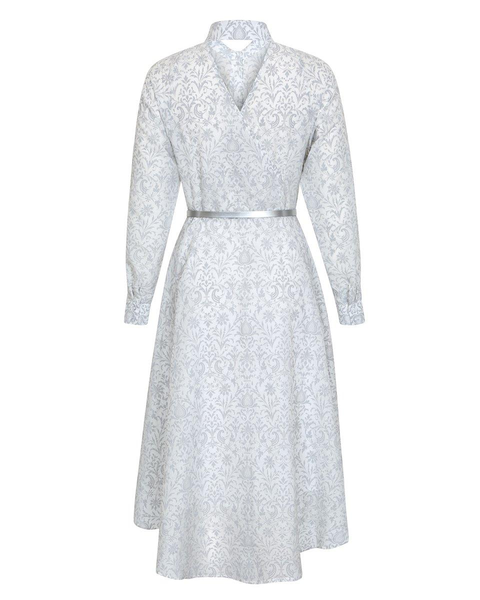 Хлопковое платье с удлиненной спинкой и баской