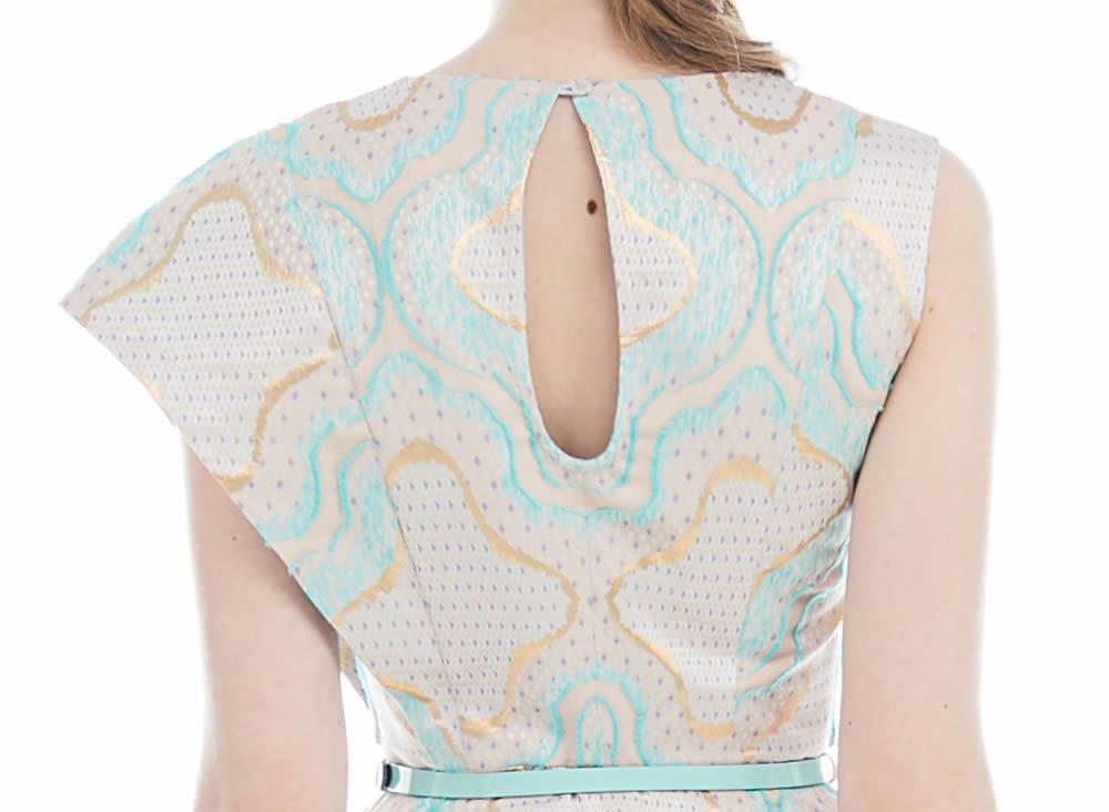 Платье асимметричного кроя из жаккарда с золотистым узором