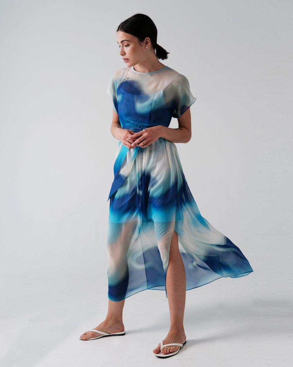 Платье из шелка с морским принтом