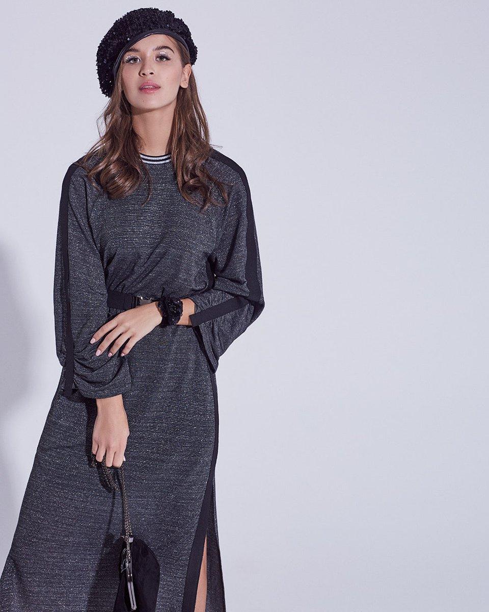 Платье из трикотажа с люрексом графитового цвета