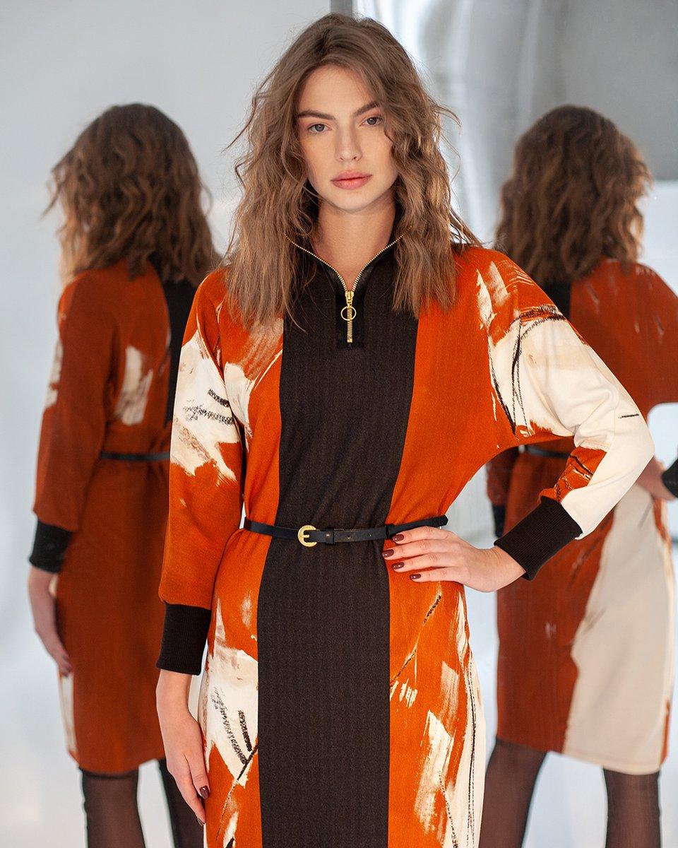 Платье-кимоно терракотового цвета из комбинированной ткани