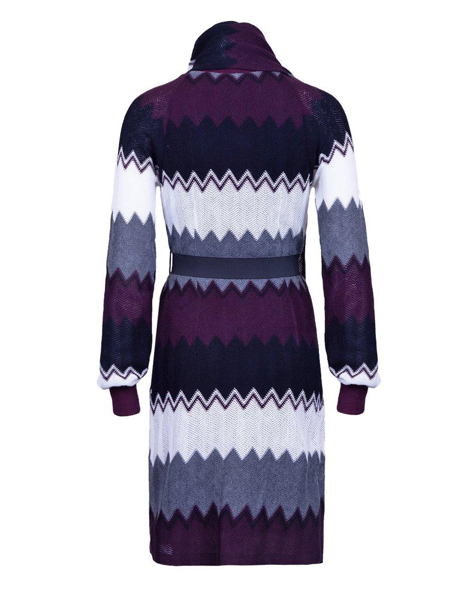 Платье из вязаного трикотажа с шарфом и эластичным поясом