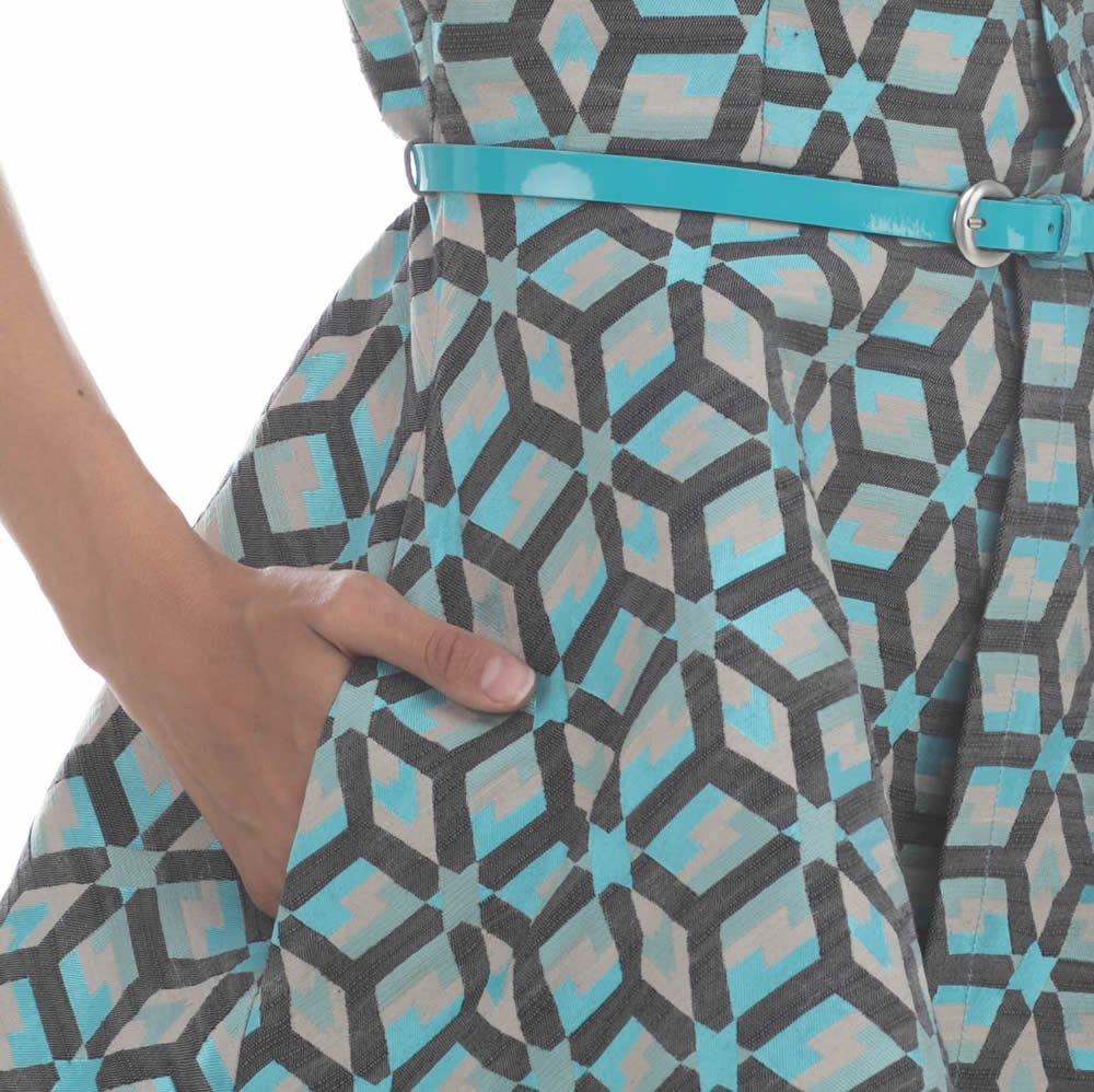 Платье из жаккарда, асимметричного кроя