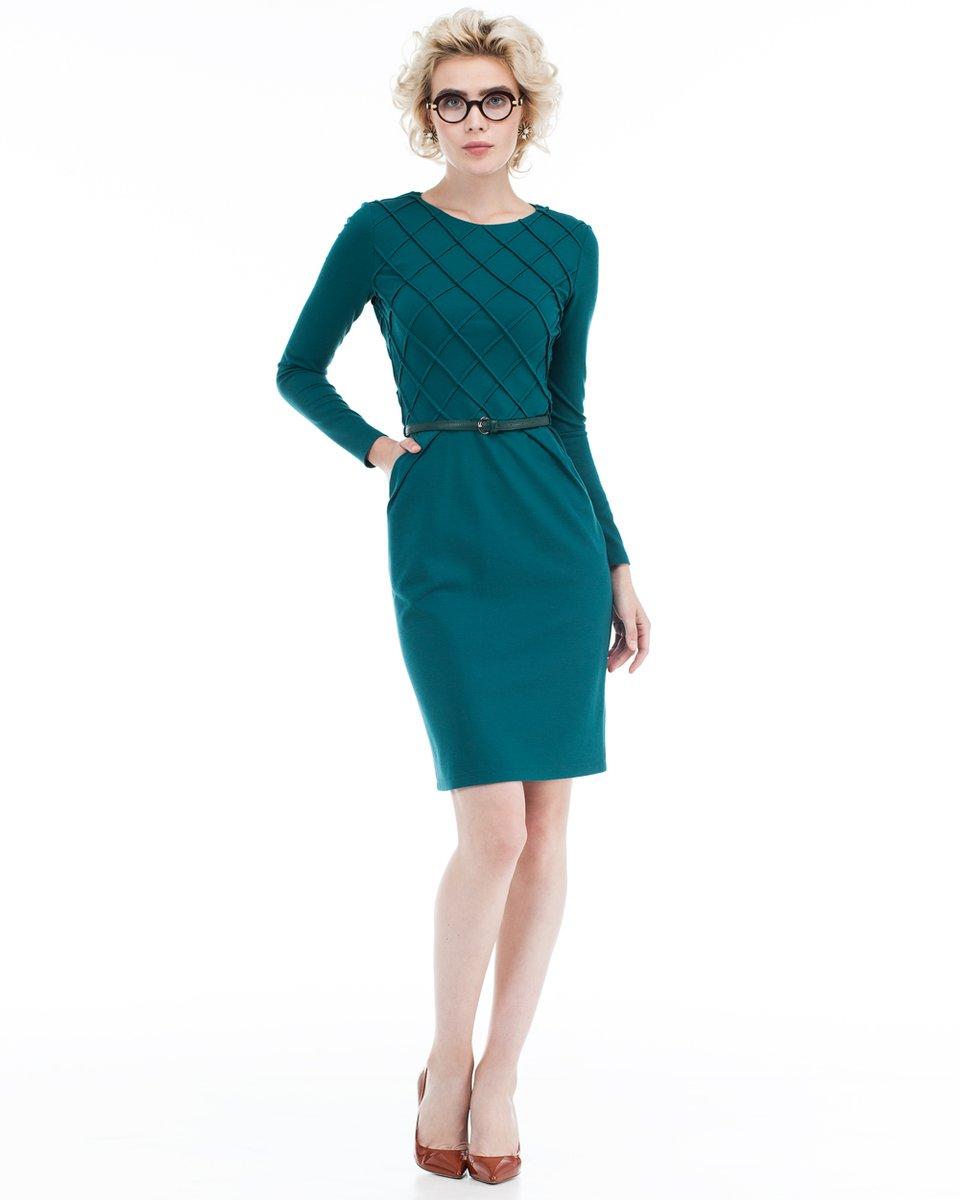 Платье изумрудное с юбкой-тюльпан