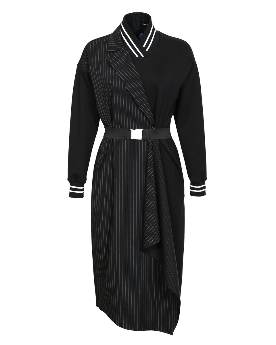 Платье из комбинированной ткани с запахом