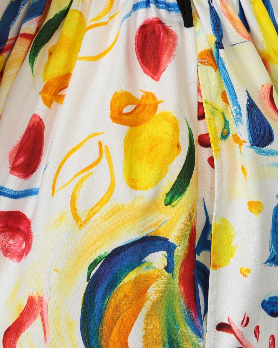 Платье с пышной юбкой и акварельным принтом