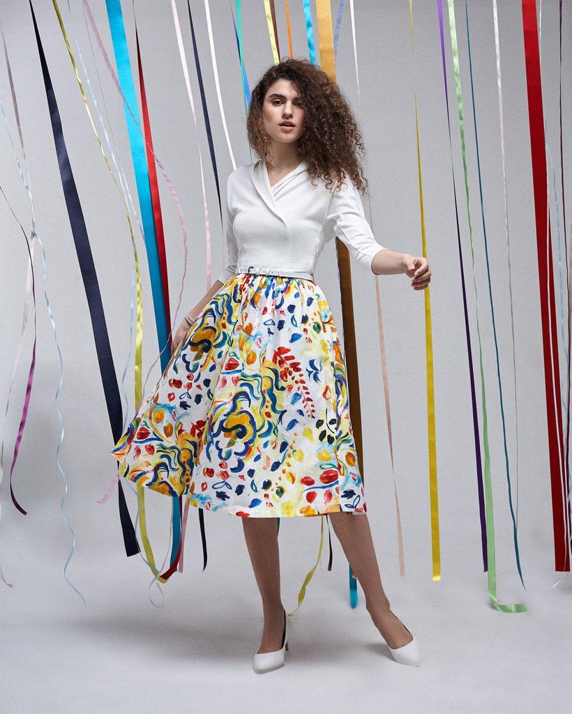 Платье комбинированное с пышной юбкой