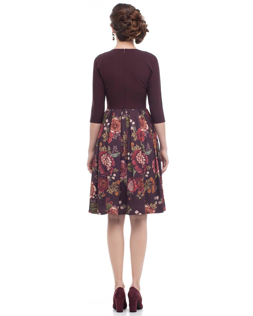 Платье комбинированное с юбкой длины миди и цветочным принтом