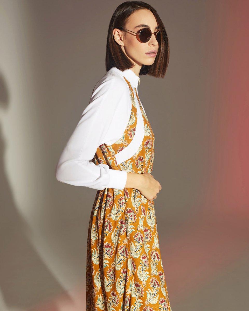 Платье комбинированное с цветочным принтом