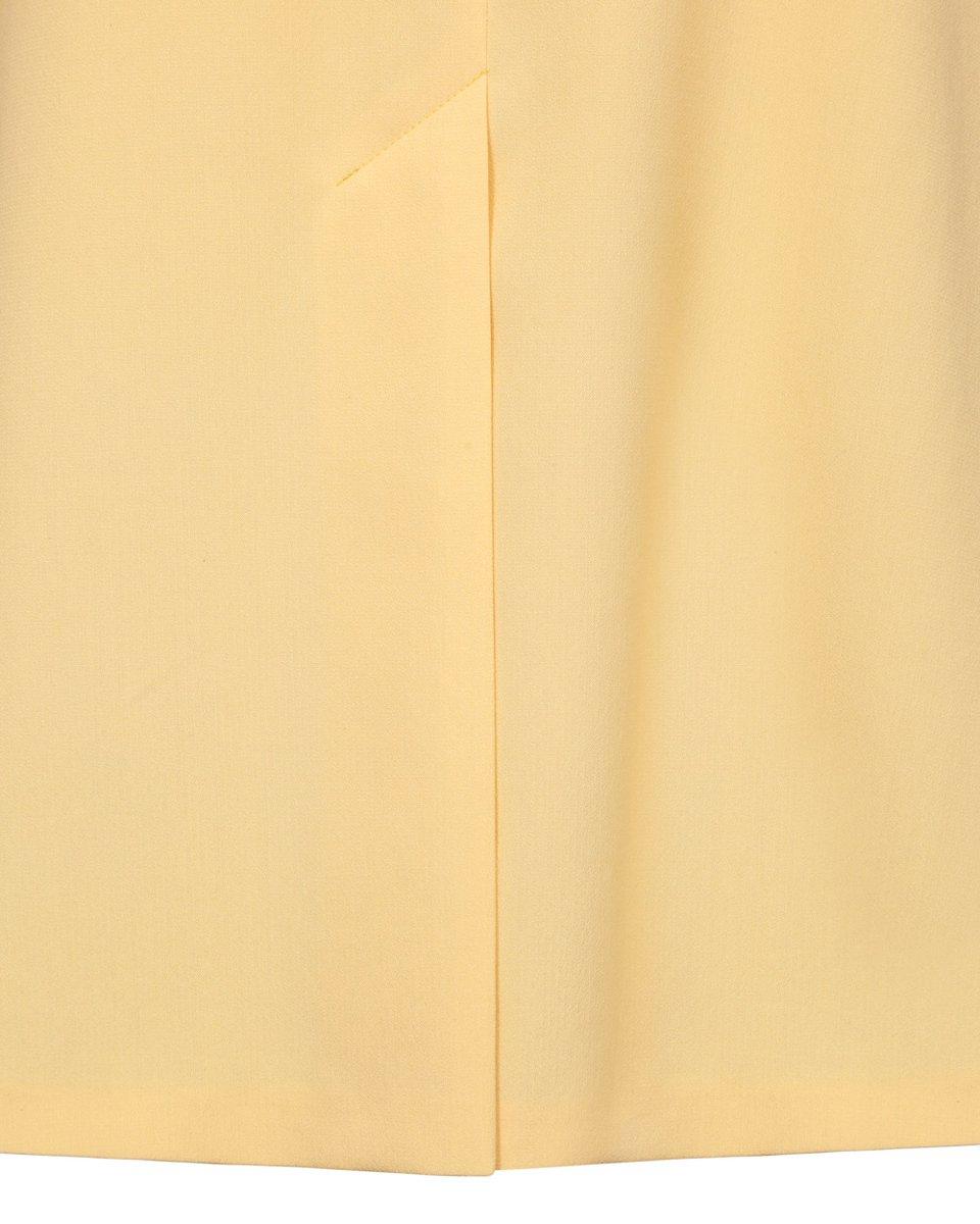 Платье лимонного цвета с лацканами