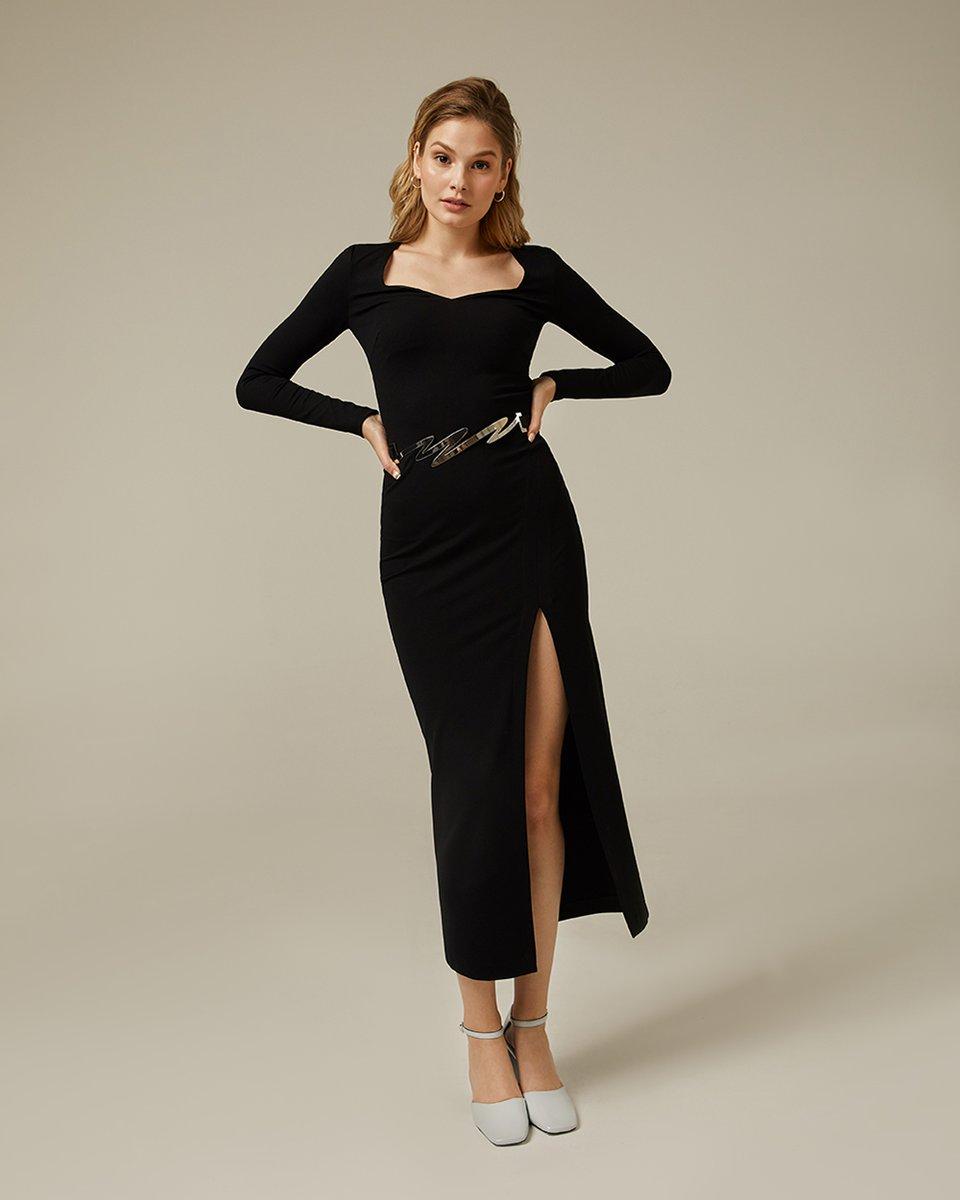 Платье миди с фигурным декольте