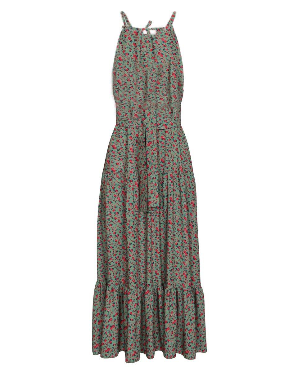 """Платье макси оливкового цвета с воланом, принт """"Цветы"""""""