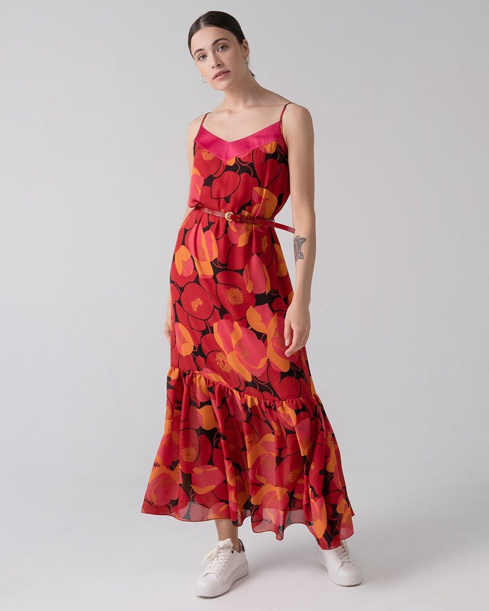 """Платье макси с воланом на юбке, принт """"Цветы"""""""