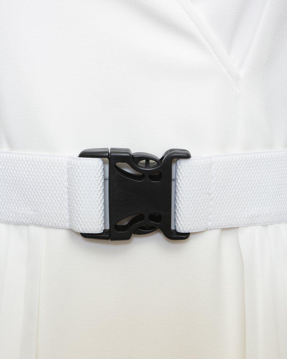 Платье в спортивном стиле со съемным шлейфом-гофре