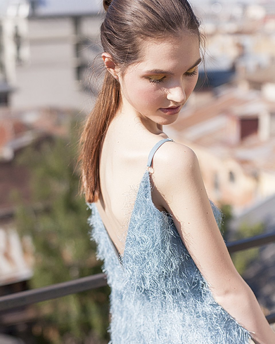 Платье-туника из ткани с бахромой