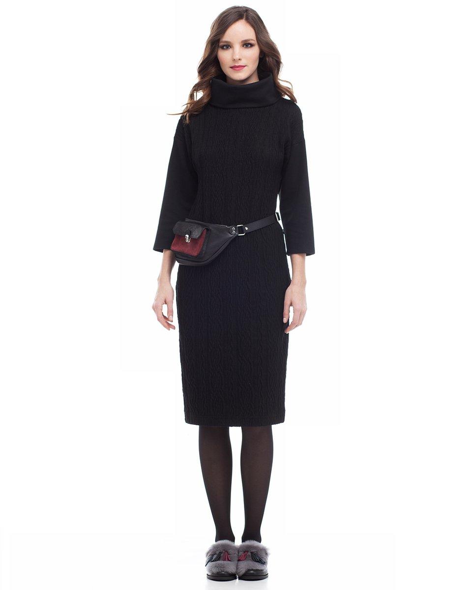 """Платье прямого кроя из ткани с набивным рисунком """"косы"""", черное"""