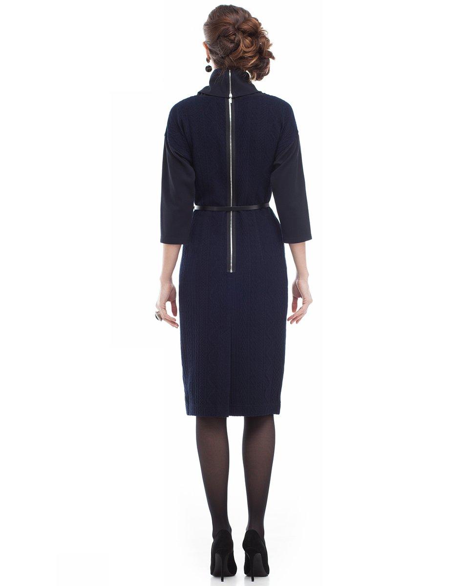 """Платье прямого кроя из ткани с набивным рисунком """"косы"""", темно-синее"""
