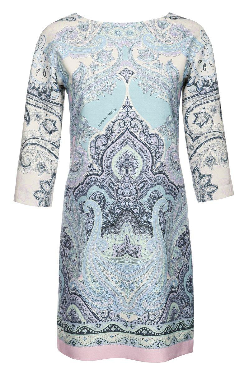 Платье прилегающее из узорчатой шерсти, с поясом.