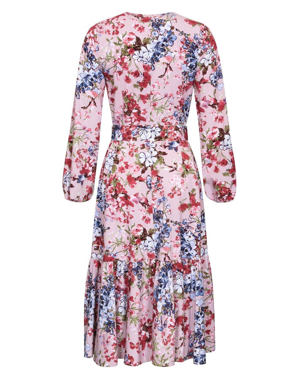 """Платье розового цвета с воланом на юбке, принт """"Цветы"""""""