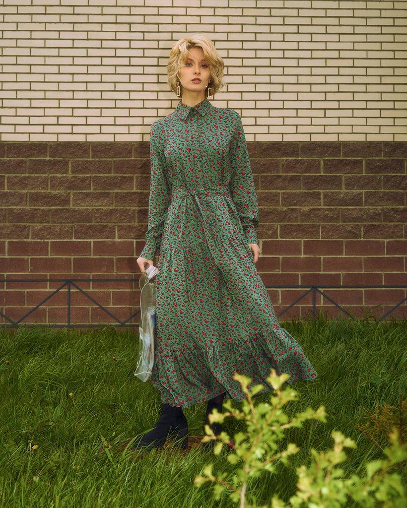 Платье-рубашка оливкового цвета с цветочным принтом