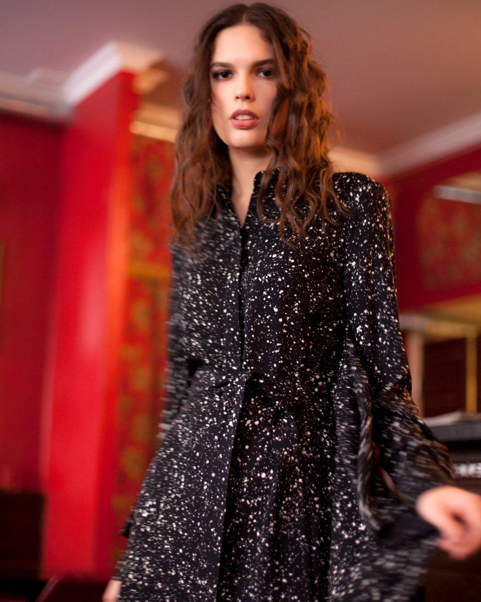 Платье-рубашка с декоративными воланами