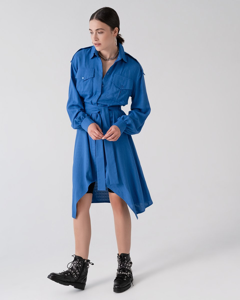 Платье-рубашка с кокеткой