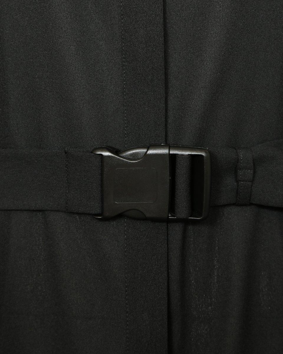 Платье-рубашка с лампасами гофре, черного цвета