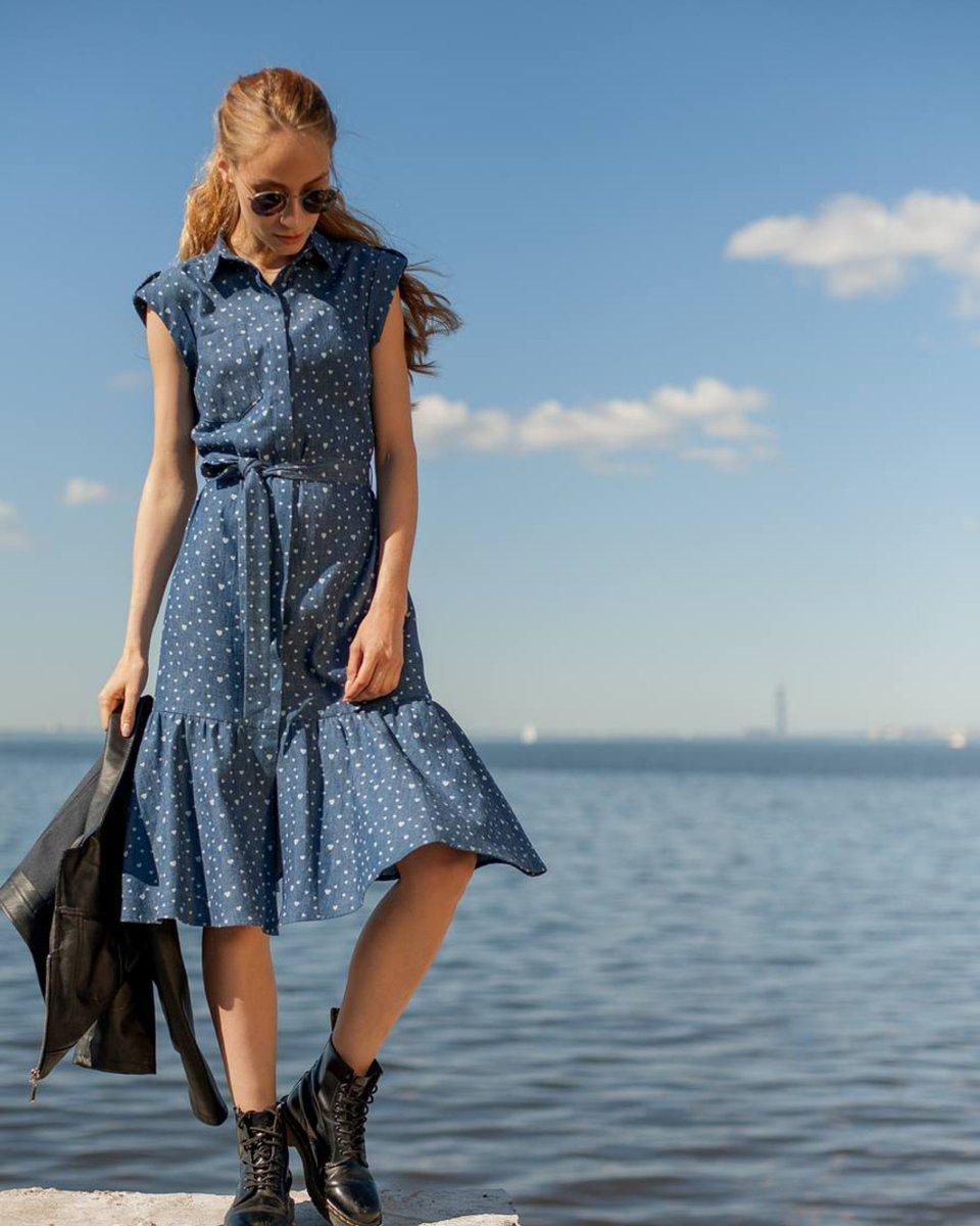 Платье из денима, с юбкой-воланом