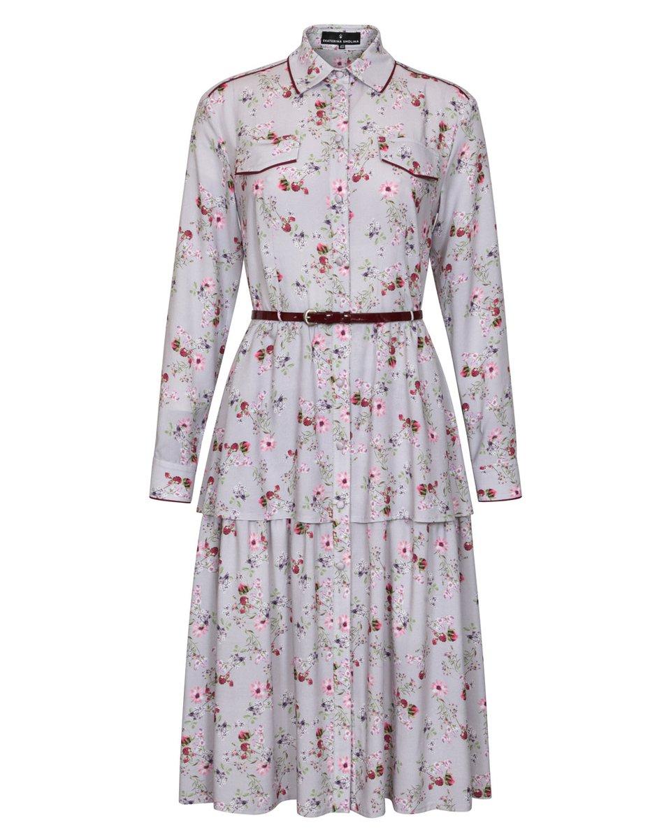 """Платье-рубашка серого цвета с двухъярусной юбкой, принт """"Цветы"""""""