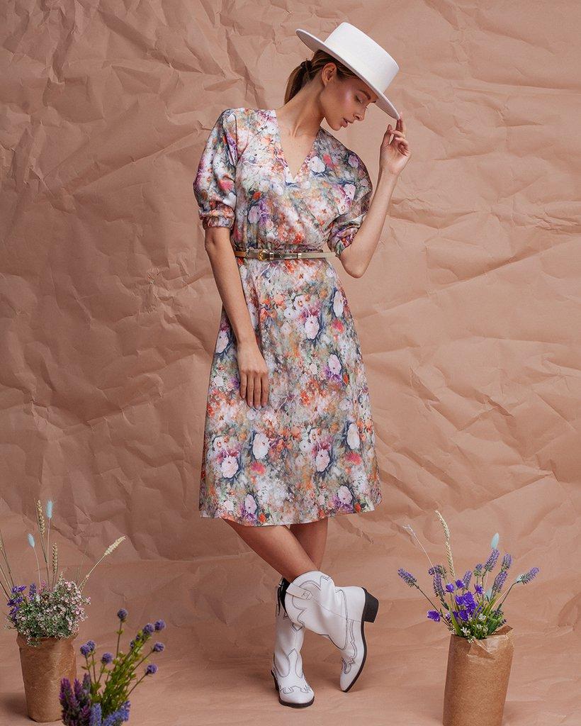 Платье с акварельным цветочным принтом