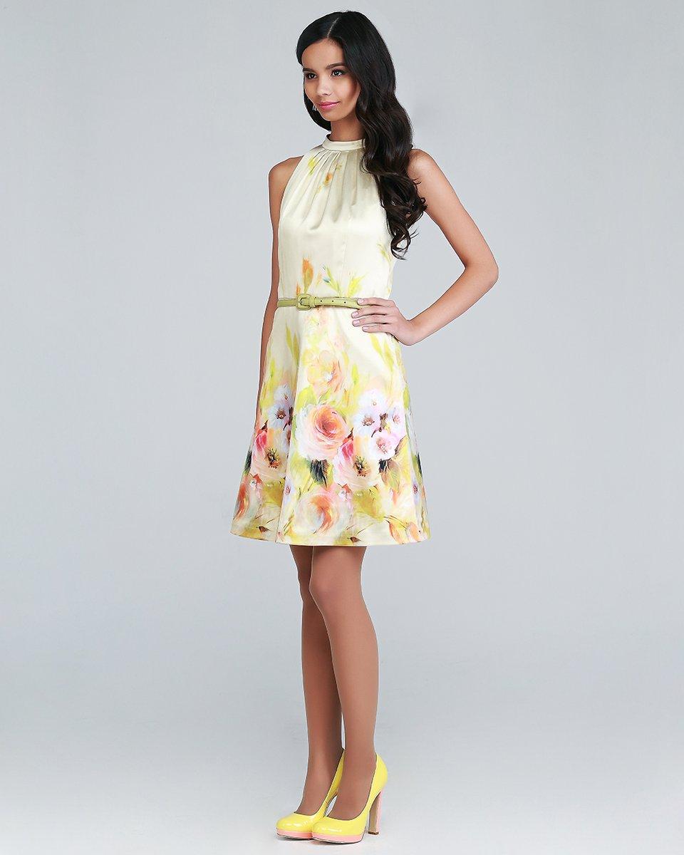 Платье с американской проймой, желтое